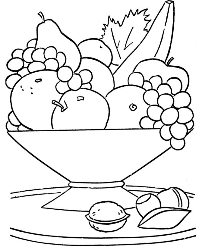 Раскраска натюрморт с фруктами в вазе